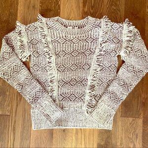 Gap fringe black & white sweater